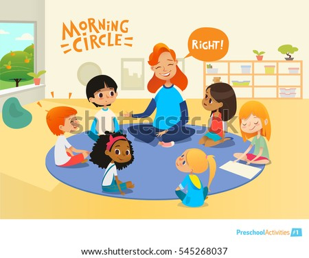 Teacher asks children questions and encourage them during morning lesson in preschool classroom. Circle-time. Pre-primary school education concept. Vector illustration for poster, advertisement.