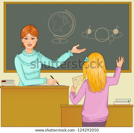 Teacher at blackboard asks children