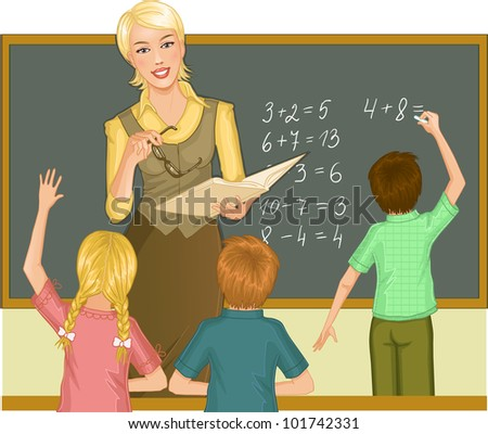 Teacher at blackboard explains children mathematics. Vector image of a young teacher in the classroom who gives a lesson of mathematics