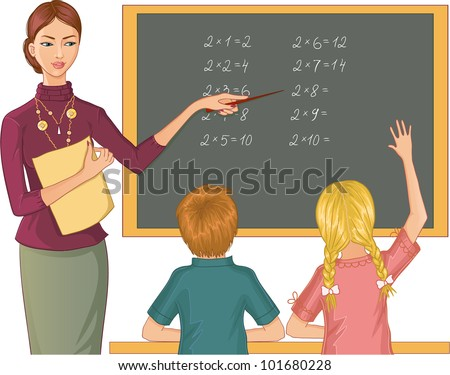 Teacher at blackboard explains children mathematics. Vector image of a young teacher who points to mathematical exercises and asks boy and girl