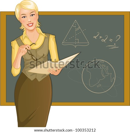 Teacher at blackboard. Vector image of a young woman teacher with book and eyeglasses in hands, on the background with blackboard
