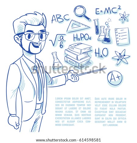 Teacher at the blackboard and education doodle icons. back to school hand drawn vector concept. Teacher with pointer, illustration of sketch school teacher