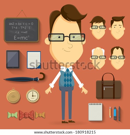 Teacher cartoon character illustration Vector elements and accessories
