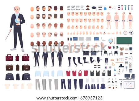 Teacher character constructor. Male lecturer creation set. Different postures, hairstyle, face, legs, hands, accessories, clothes collection. Vector cartoon illustration. Man front, side, back view.