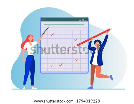 Teacher explaining task. Student passing test, drawing ticks in matrix flat vector illustration. Education, class, lesson concept for banner, website design or landing web page Foto stock ©