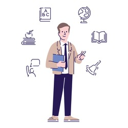 Teacher flat vector character. School educator, tutor, instructor cartoon illustration with outline and linear icons. Educational industry worker. Male lecturer, professor isolated on white background