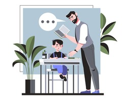 Teacher giving individual attention to a young student at his desk reading to him from a book during class in an education concept, colored vector illustration