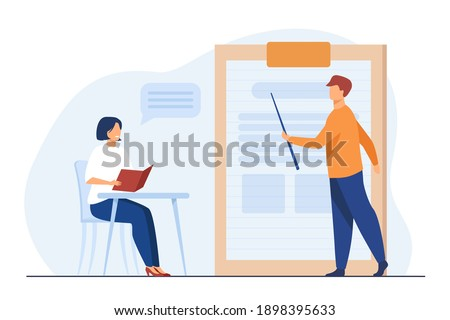 Teacher giving seminar to student in classroom. Mentor and intern, coach and trainee. Flat vector illustration. Education, training, learning concept for banner, website design or landing web page Stockfoto ©
