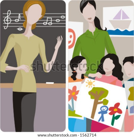 Teacher illustrations series. 1) Music teacher teaching a lesson in a classroom. 2) Art teacher and her class in a classroom.
