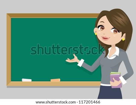 teacher in front of  chalkboard ...