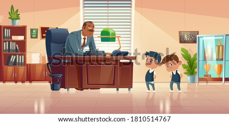 Teacher meeting with kids in principals office. Vector cartoon illustration of kind man school headmaster talk with two guilty boys. Administration cabinet with director and students ストックフォト ©