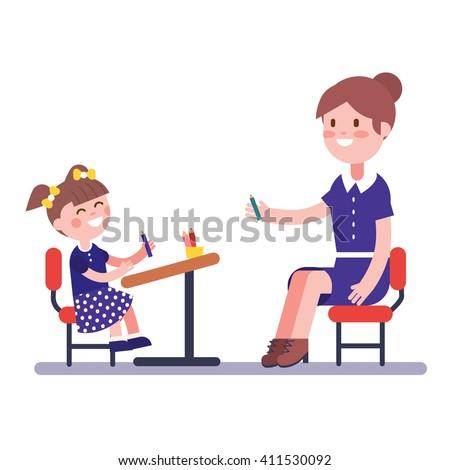 Teacher or home tutor studying with her girl pupil sitting on school desk. Modern flat vector illustration clipart. Stock photo ©