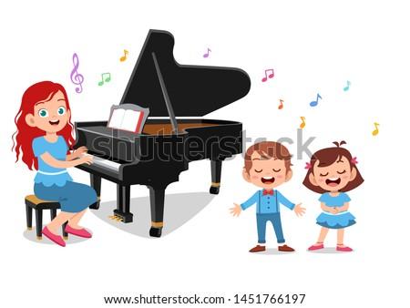 teacher play piano vectors