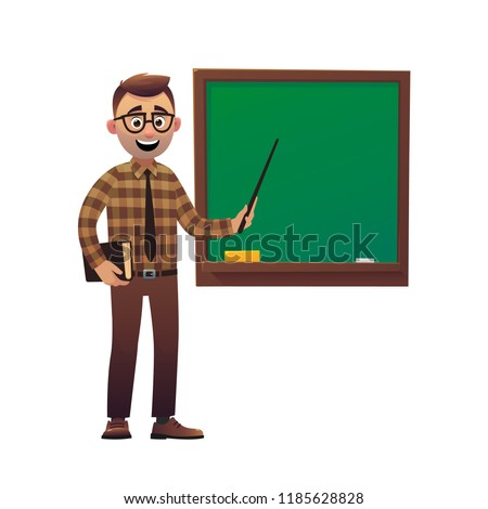 Teacher professor standing in front of blackboard teaching student in classroom vector
