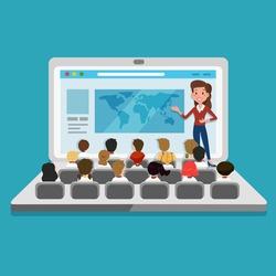 Teacher providing a digital lesson online
