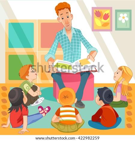 teacher reading for kids in the