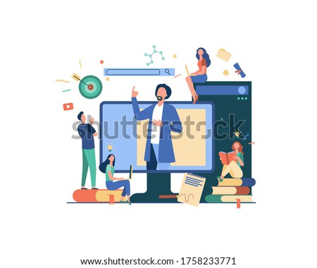 Teacher reading lecture online isolated flat vector illustration. Students learning lesson via laptop and listening webinar. Computer education and technology concept Stockfoto ©
