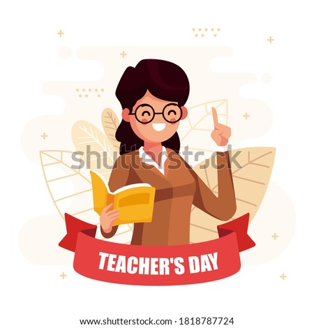 Teacher's Day. Woman and men teacher's day. Schoolchildren give flowers to the happy teacher on the background of the school green board in classroom. Vector illustration in cartoon style.