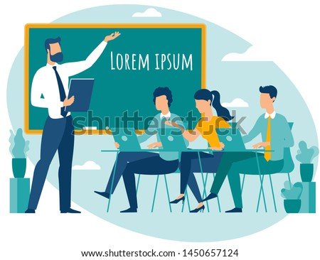Teacher speaking to students group with notebooks and gadgets. Flat design people cartoon characters vector illustration of university college lesson lecture.