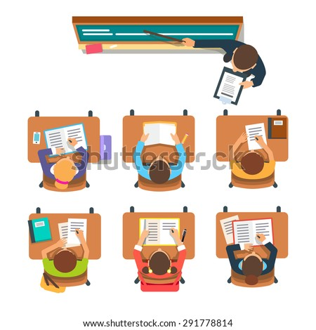 Teacher standing and pointing at the chalkboard teaching in front of the children sitting at the desks in classroom. Flat vector illustration isolated on white background.