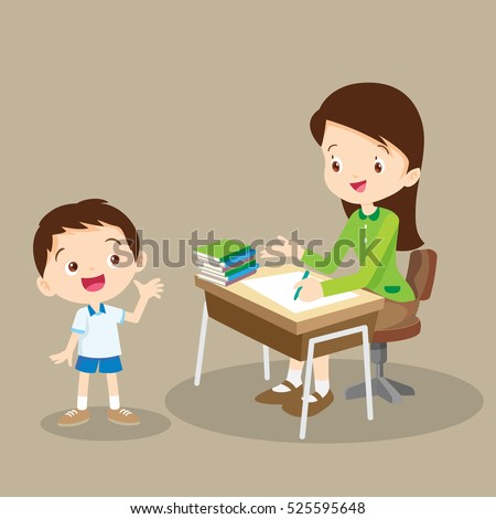 teacher talking with student.