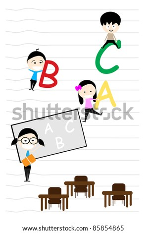 teacher teaches the introduction of the letters A, B and C