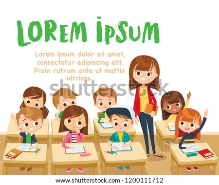 Teacher teaching children in classroom. Pupils raising hand. Teacher taking class. Back to school. Primary school kids.