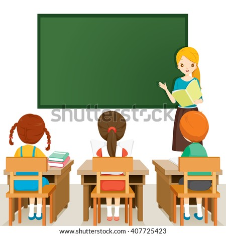 Royalty-free School lesson. Little students and ...