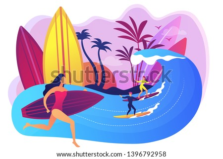 Teacher teaching surfing, riding a wave on the surfboard in ocean, tiny people. Surfing school, surf spot area, learn to surf here concept. Bright vibrant violet vector isolated illustration