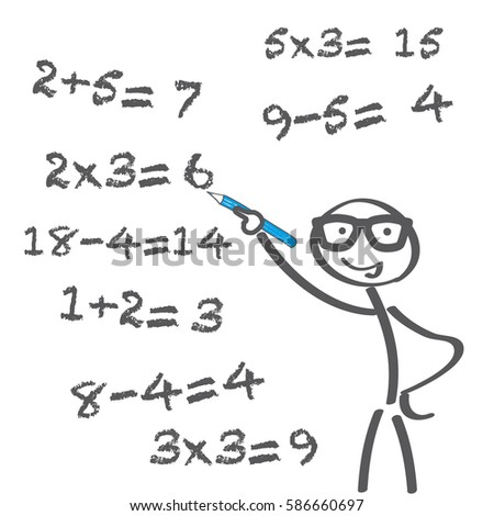 teacher tries to solve math problems. Math calculations on board.