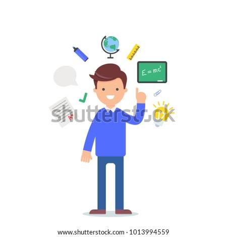 Teacher vector illustration, male character flat style