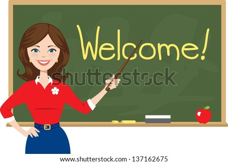 Teacher welcomes students back to school - stock vector