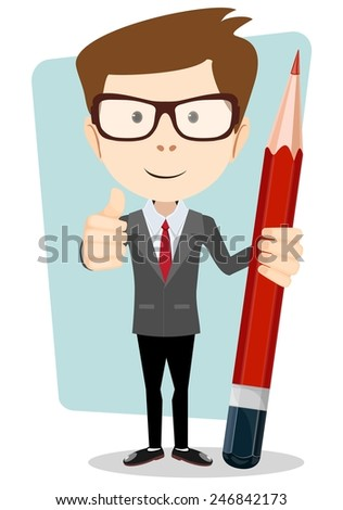 Teacher with a red pencil to correct and study vector illustration