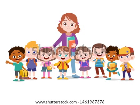 teacher with student together vector illustration