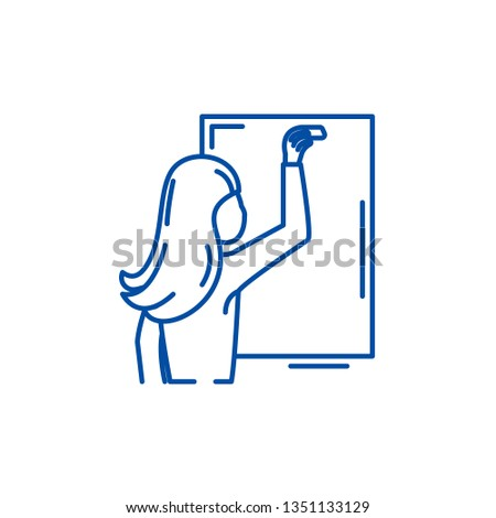 Teacher writes in chalk on a blackboard line icon concept. Teacher writes in chalk on a blackboard flat  vector symbol, sign, outline illustration.