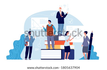 Teachers concept. Academics, school education world. Tiny professors of college. Mathematics geography chemistry teacher vector illustration