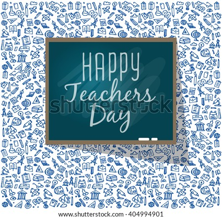 Teachers day. School doodles Supplies. Composition of Hand Drawn Vector Illustration. Design Elements