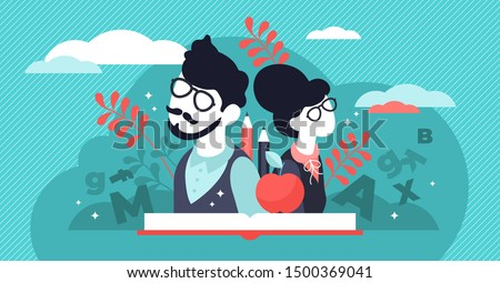 Teachers day vector illustration. Flat tiny world educators holiday persons concept. October academic occupation celebration time. University and school profession symbolic appreciation greeting time.
