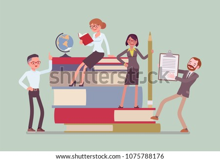 Teachers group at giant books. School or college workers with professional discipline tools, university staff poster. Science and education concept. Vector flat style cartoon illustration