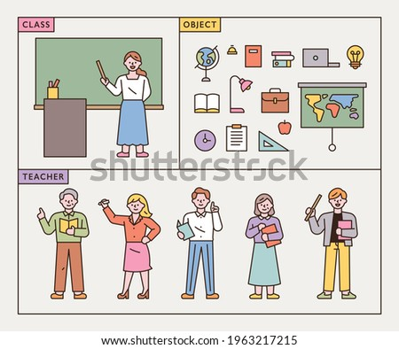 Teachers in class characters and school supplies icons. flat design style minimal vector illustration.