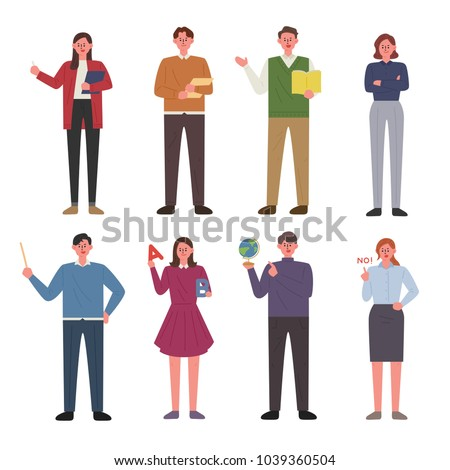 Teachers who teach various subjects. hand drawing style vector illustration flat design