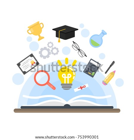 Teaching concept illustration. Idea and calculator, diploma and glasses.