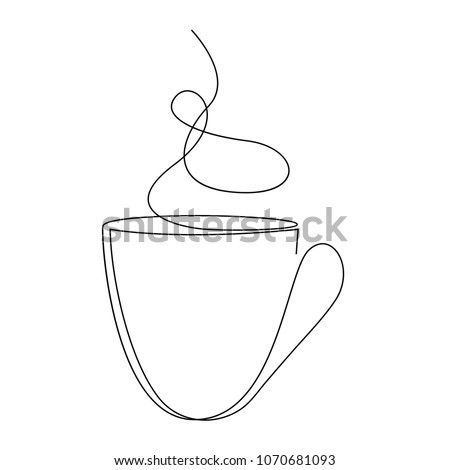 Teacup continuous line. One line tea cup vector illustration.