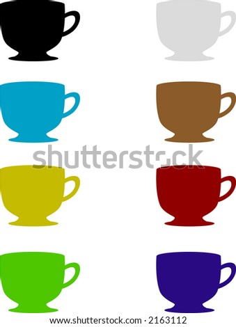 Teacup Set - Fully editable vector drawing
