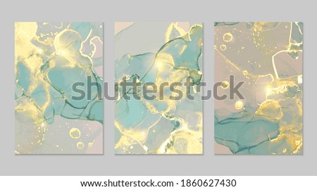 Teal, blue and gold marble abstract background set. Alcohol ink technique vector stone textures. Modern paint in natural colors with glitter. Template for banner, poster design. Fluid art painting