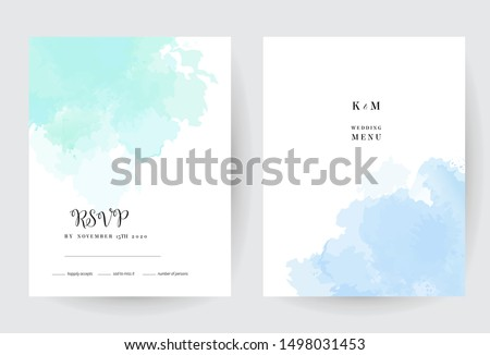 Teal blue watercolor vector splash cards. Simple minimalist backgrounds, hand-drawn watercolour texture. Painted delicate spots.Elegant frames.Mint, cyan, teal trendy color brush art drawing on white.