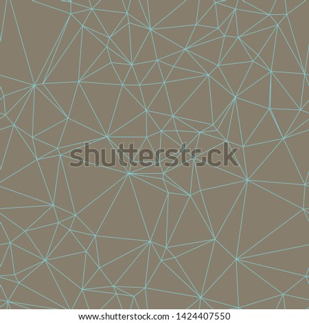 Teal lines on brown background.  Triangle mesh web network.  Low poly.  Generative art (made with code).  Seamless repeat vector pattern.