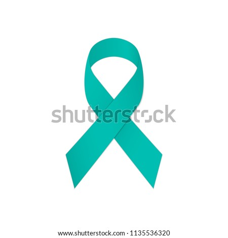 Teal ribbon awareness on a white background. Symbolic Post Traumatic Stress Disorder - PTSD. Vector illustration.