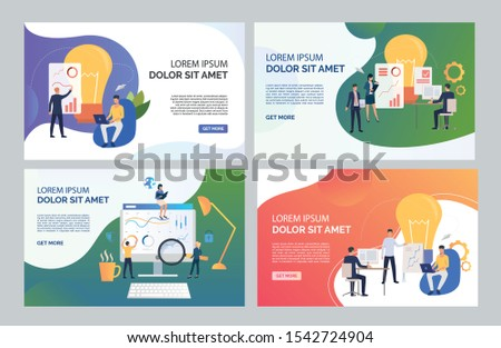 Team analyzing reports set. Marketing group presenting graphs, constructing diagrams. Flat vector illustrations. Business concept for banner, website design or landing web page
