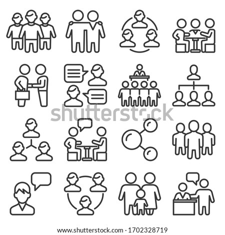 Team and Business Icons Set on White Background. Line Style Vector